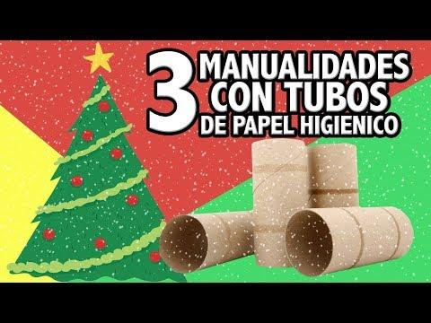 3 manualidades navideas con rollos de papel higinico Manualidades