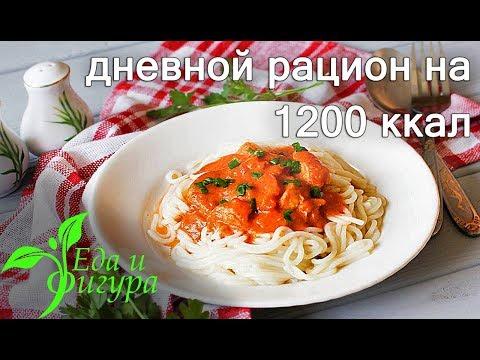 ПП рацион на день 1200 ккал.  Для тех кто хочет похудеть.