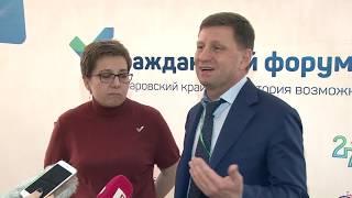 Пресс-подход губернатора Сергея Фургала и Анны Федермес...