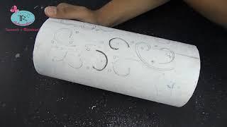 Aprenda como fazer uma luminária de Pvc passo a passo - Técnica do Stencil