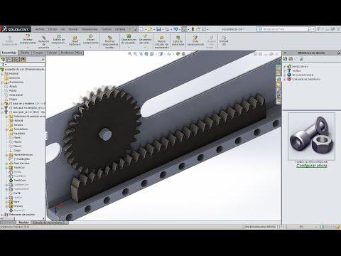 Relacion de engrane y cremallera  posicionar eje para cremallera  en Solidworks 2014