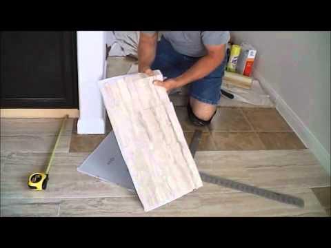 TrafficMaster ceramica 12″ X 24″  vinyl tile floor installation.