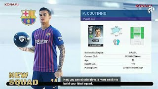 PES 2019 Official New My Club, New Agent, New Squad and Much More