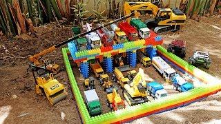 중장비 자동차 장난감 주차장 만들기 메가 블럭 놀이 Car Toys For Kids Color Block Play