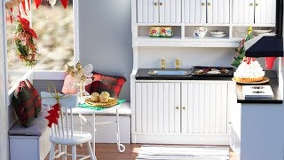 DIY Dollhouse Miniature Kitchen With Breakfast Nook - Merry Christmas