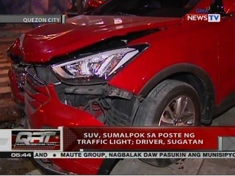 QRT: SUV, sumalpok sa poste ng traffic light; driver, sugatan