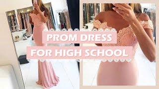 Sweet Long Off-the-shoulder Chiffon Prom Dress For High School | MillyBridal Custom Dresses