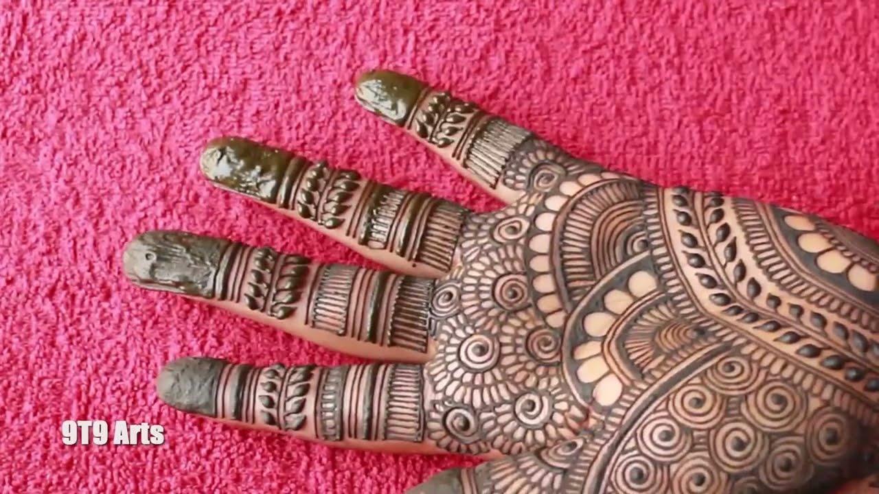 semi bridal full hand mehndi design by 9t9 arts