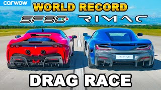 [carwow] Ferrari SF90 v new Rimac Nevera: DRAG RACE *WORLD RECORD!!!*
