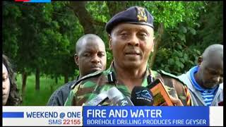Shock as borehole drilling produces fire geyser followed by a water jet at Patel Coffee Farm, Nakuru