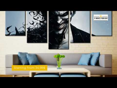 5 Piece Batman Joker Movie Canvas Wall Art Paintings