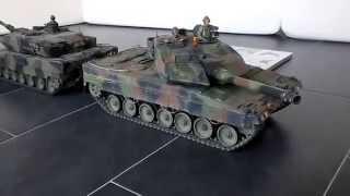 Tamiya 1/16th scale radio controlled Leopard 2A6 tank full option vs Torro PanzerSchmied Edition