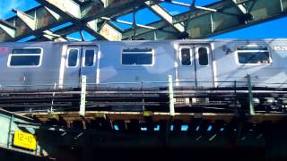 preview picture of video 'Manhattan-bound R160A M Train@Myrtle Avenue/Bway (Street Level)'