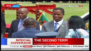 Zambian president Edgar Lungu arrives at Kasarani Stadium for the inauguration ceremony