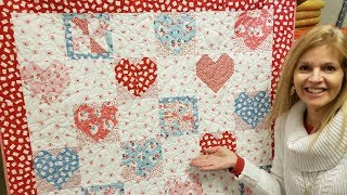Donnas SWEET Hearts And Pinwheels FREE PATTERN Quilt Tutorial!