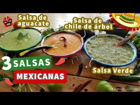 3 Recetas de Salsas Picantes MEXICANAS : Chile de Arbol, salsa verde y de aguacate