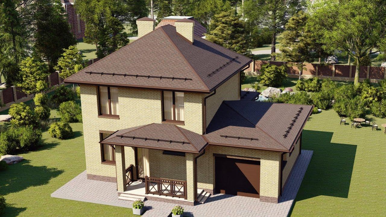 Проект дома 2 этажа из пеноблока с гаражом и террасой 144 м2
