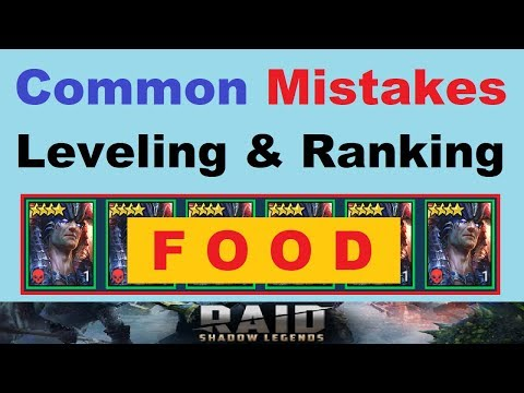 Common Mistakes ~LEVELING & RANKING *FOOD*~ in Raid: Shadow Legends