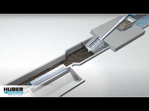 Animation: Siebung großer Abwassermengen mit HUBER Siebanlagen