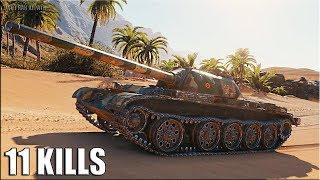 Т-54 обл. ЛТ ТАЩИТ БОЙ 🌟 11 ФРАГОВ 🌟 World of Tanks лучший бой на легком танке