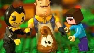БЕНДИ vs БАЛДИ vs ПРИВЕТ СОСЕД 💩 Лего НУБик Майнкрафт Мультики - LEGO Minecraft FNAF Мультфильмы