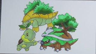 Grotle  - (Pokémon) - Drawing Pokemon: No.387 Turtwig, No.388 Grotle, No.389 Torterra