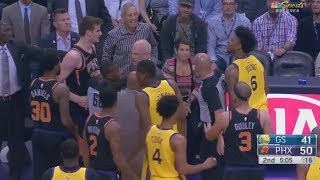 Nick Young And Dragan Bender Get Into Fight | Steve Kerr Cheers Him On | Warriors vs Suns 2018| | Kholo.pk