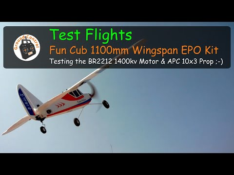 Fun Cub 1100mm Wingspan EPO Kit from Banggood - Testing the RacerStar BR2212 1400kv Motor & APC 10x3 Prop ;-)