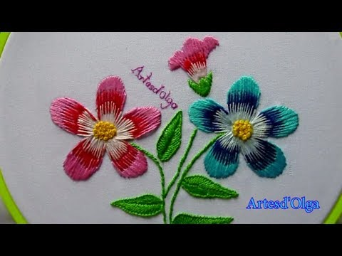 Hand Embroidery Long And Short Stitch Flowers Bordados A Mano