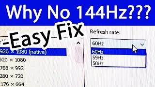 Monitor Refresh Rate Stuck at 60Hz - Not Showing 120Hz 144Hz