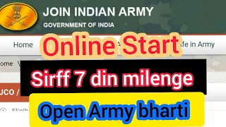 ARMY Rally Online Form Open For Only 7 Day | Full Information Army Bharti | Open Army bharti Gd