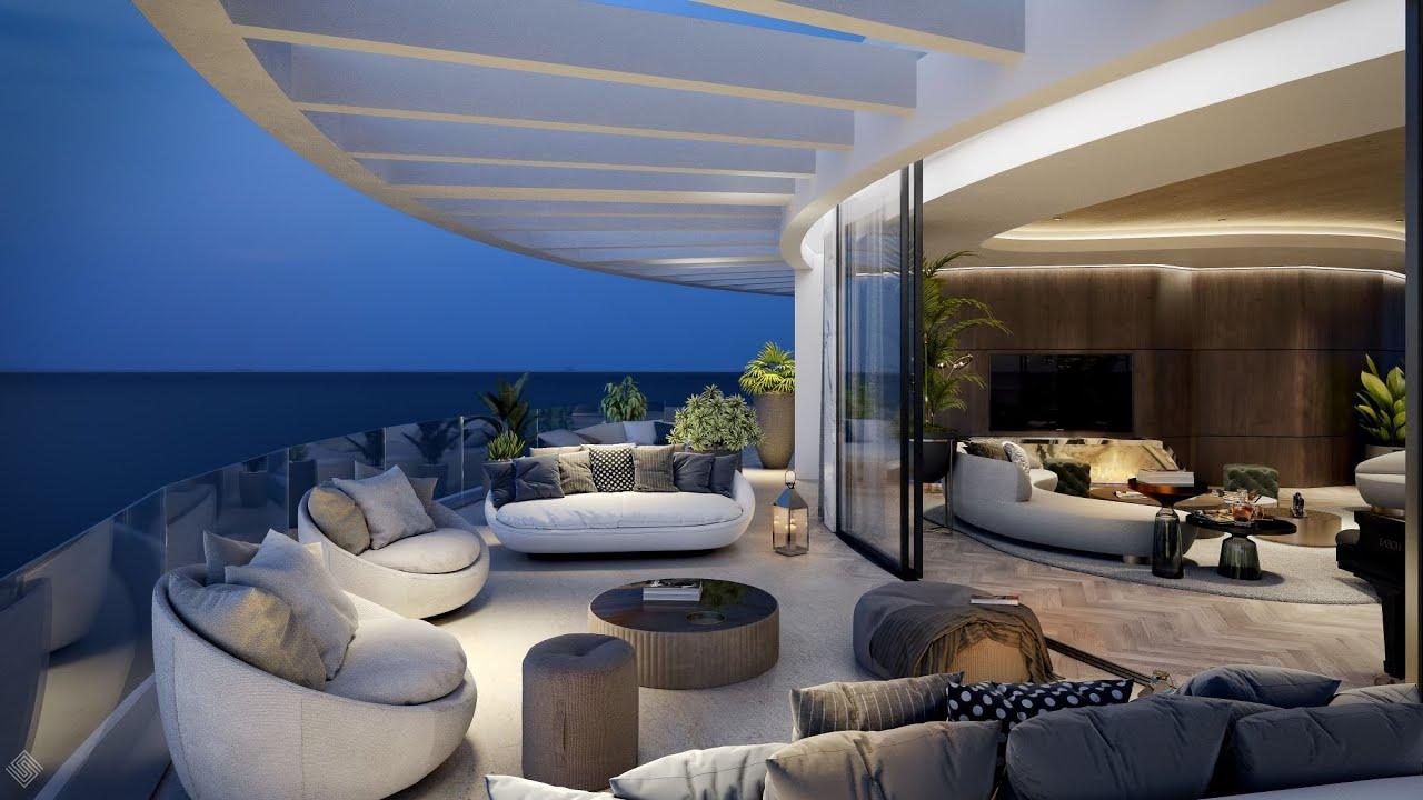 Ático sobre plano de 4 dormitorios con vistas al mar en venta en la comunidad vigilada de The View Marbella, Benahavis