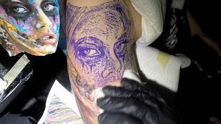 Dia de los muertos tattoo in progress , how to tattoo