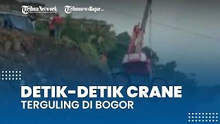 Video Detik-detik Alat Berat Crane Terguling di Bogor, Pengendara yang Melintas Histeris