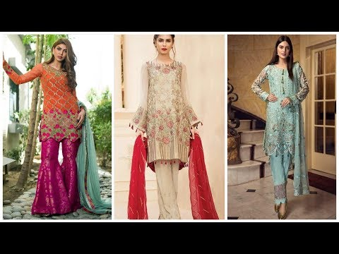 Latest branded embroidery chiffon  party wear dresses designs