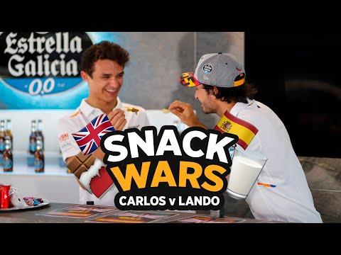 Carlos Sainz and Lando Norris play 'Snack Wars'