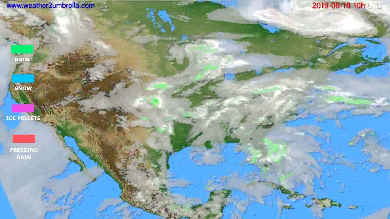 Precipitation forecast USA & Canada // modelrun: 00h UTC 2019-06-16