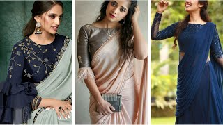 Plain Georgette Saree With Heavy Blouse Designs || Plain Georgette Saree Blouse Ideas For Farewell
