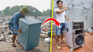 recycle-mini-fridge-from-landfill-into-portable-pull-rod-speaker