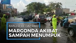 Hujan Deras, Jalan Margonda-Depok Terendam Banjir Setinggi 50 cm akibat Sampah Menumpuk di Selokan