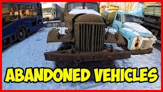 THE ABANDONED VEHICLES. Abandoned rusty trucks. Forgotten Machines. Old vehicles