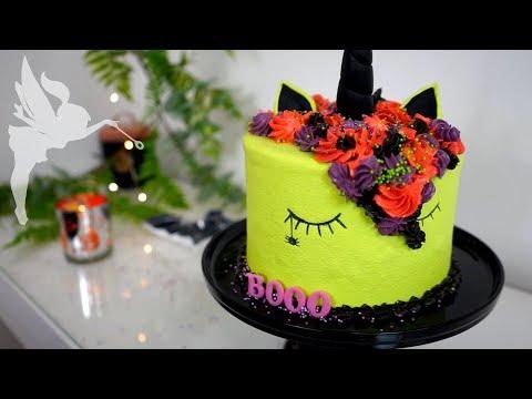 Zombie Unicorn Torte - Halloween Motivtorte Einhorn - Zombiecorn? - Kuchenfee CC