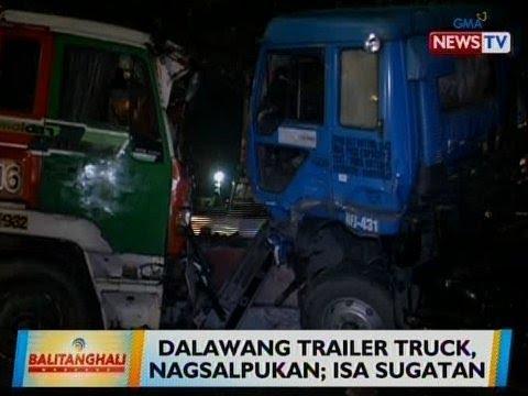 [GMA]  BT: 2 trailer truck, nagsalpukan sa Pasay; 1 sugatan