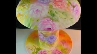 Banquinho de carretel – rosas no tecido e no carretel