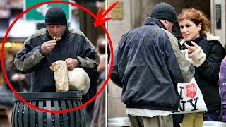 Woman gave food to a homeless person not knowing who he really was .. The whole WORLD knows him