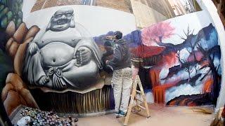 Graffiti terraza buda para Esmeralda Ink