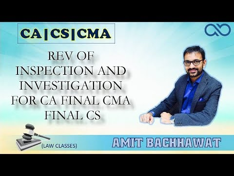 REV OF INSPECTION AND INVESTIGATION Corporate and Economic Laws Lecture by  Amit Bachhawat