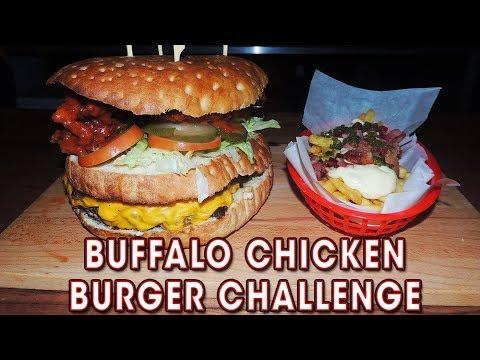 Undefeated Buffalo Chicken & Bacon Cheeseburger Challenge!!