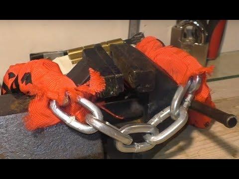 Zapięcie rowerowe AXA BASTA CHERTO Compact 95 - test siłowy - Nożyce kontra łańcuch!