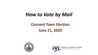 How to Vote. Early voting in Concord, MA. June 2020.